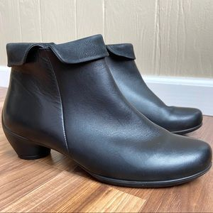 Ecco Leather Sculptured Folded Zip Bootie